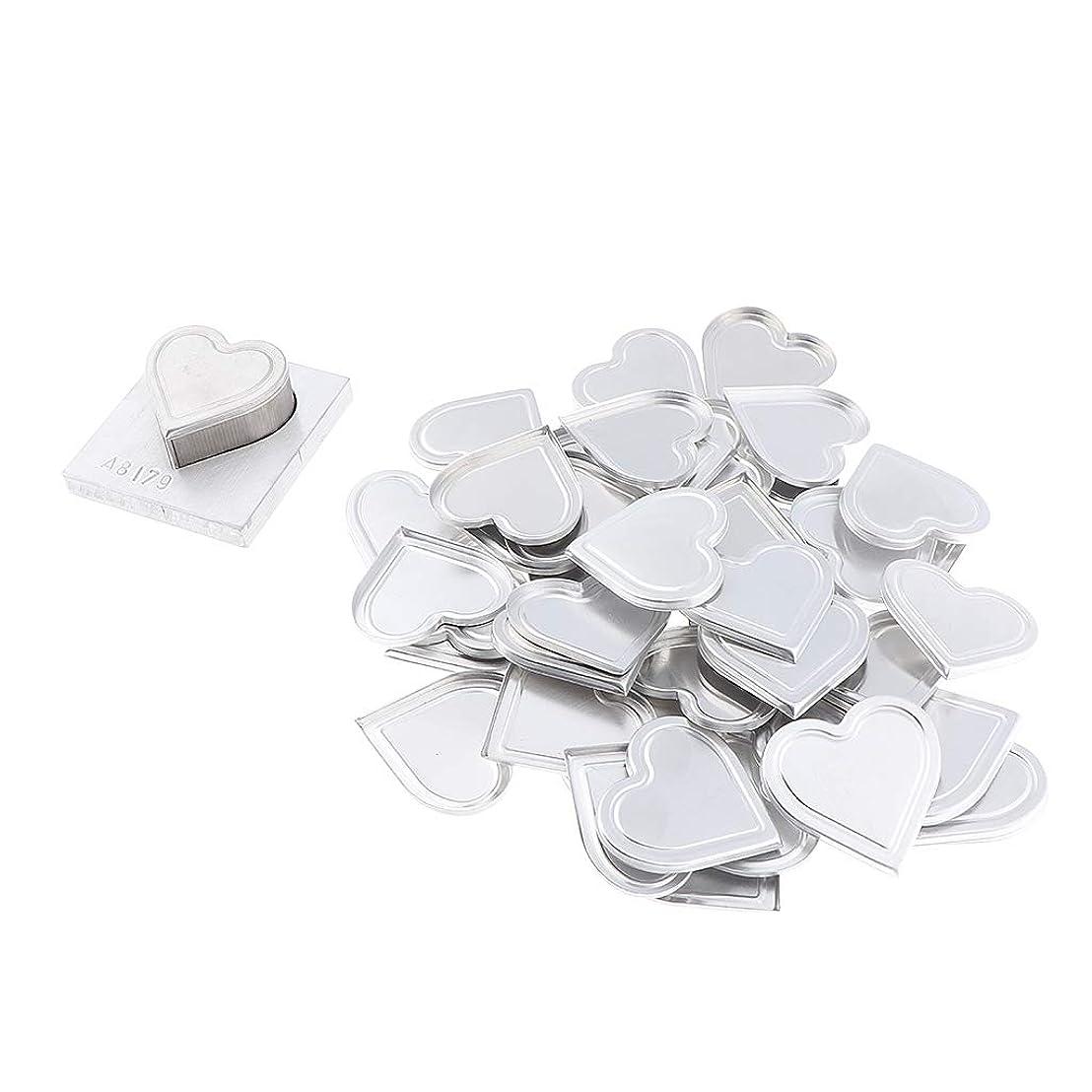 アイドルペン知覚するB Blesiya 約50個 ハート型 アルミ皿 パウダープレス金型 コスメ用詰替え容器