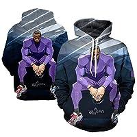 James Laker Men's Phoodie Jersey、LBJ#23バスケットボール3Dプリントプルオーバースウェットシャツ暖かい緩い長袖セーター(S-6XL) L