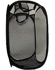 Eight Shop ランドリーバスケット 洗濯カゴ 折り畳み式 ごみ箱 ランドリーかご 洗濯ボックス 取っ手付き 大容量 34L 47×27cm×27cm ブラック 黒色