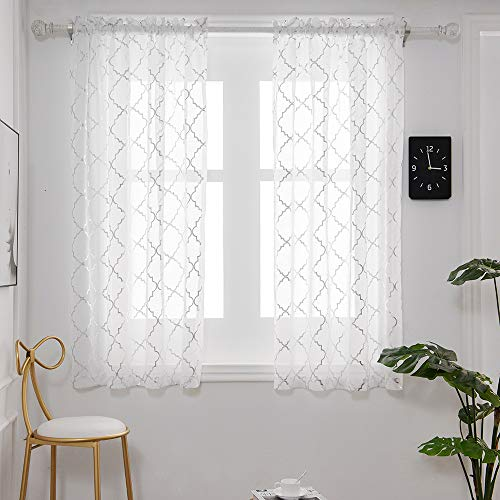 YJYANJUN Sheer Curtains for Bedroom 63 Inch Length - Moroccan Silver Print for Living Room Rod Pocket Window Drapes
