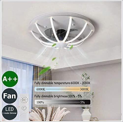 DLGGO Ventilador de techo moderna con la iluminación y la decoración de la habitación de control remoto regulable LED silencioso ventilador de la lámpara ajustable velocidad del viento  Industrial I