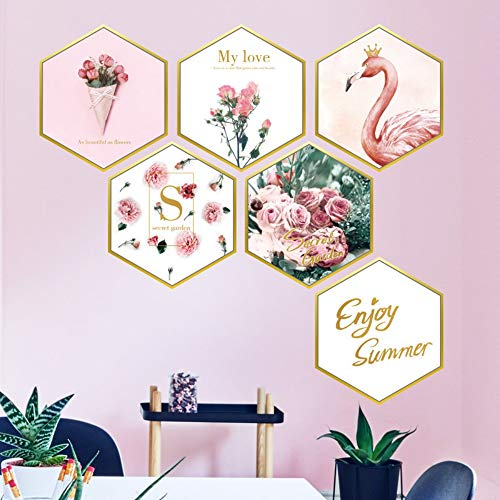Wandaufkleber Nachttischdekoration Hexagonal Flamingo Puder Rose Bilderrahmen Schlafzimmer...