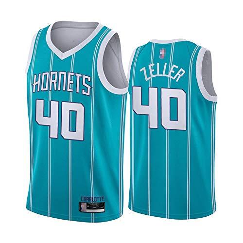 2021 Jersey De Baloncesto - NBA Charlotte Hornets # 40 Cody Zeller, Ocio para Hombre Deportes Sin Mangas, Suelto, Secado Rápido Vestido De Cuello En V,Azul,L(175~180cm)