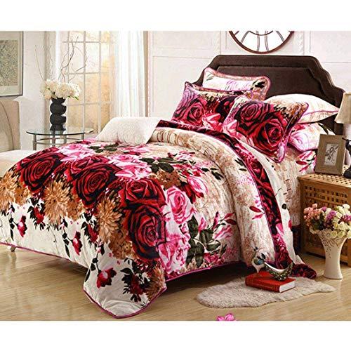 AHJSN Flanell Bettbezug Set, weiches Bettlaken Set mit Kissenbezug für King/Queen Size, 4 Stück (Größe: King) Queen