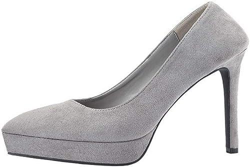 Chengleilei Talons Talons Talons Pointus pour Les Les dames, Chaussures Simples, Daim, Chaussures à Talon Aiguille (Couleur   gris, Taille   36) 083
