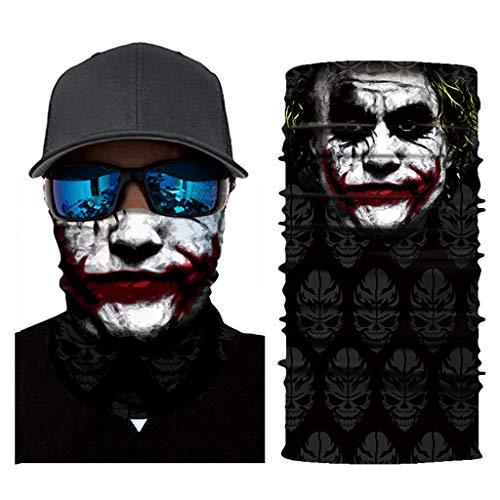 Multifunktionstuch Herren Sport, Damen Männer Horror Clown Joker Haha Skull 3D Druck Motorrad Face Shield Sturmhaube Shantou Schädel Bandana Fahrrad Tuch Funktionstuch Halstuch Kopftuch (AC138)