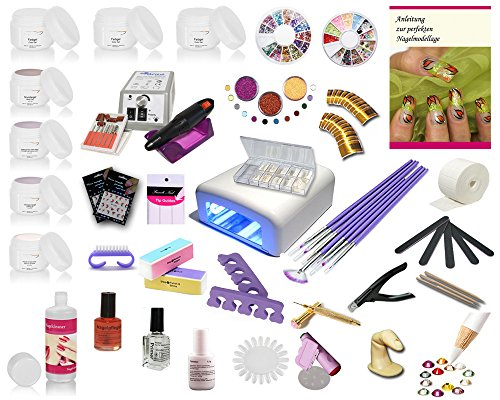 topnails24 Nagelstudio UV Gel Starterset Set, Honigeffekt, Basic, Maniküre, Pediküre, UV Farbgele, UV Systemgele, Nailart, French