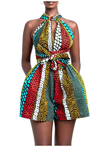 Erinaco Women Sexy Boho African Rompers Multi-Way Shorts V-Neck Jumpsuit Floral Print