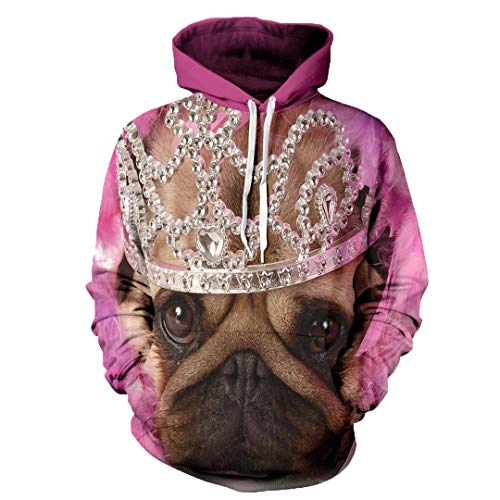 JSR-Hoodie Femmes Hommes 3D Sweat-Shirt à Capuche Imperial Crown Dog Overs Cartoon Sweat-Shirts Graphiques Imperial Crown Dog M