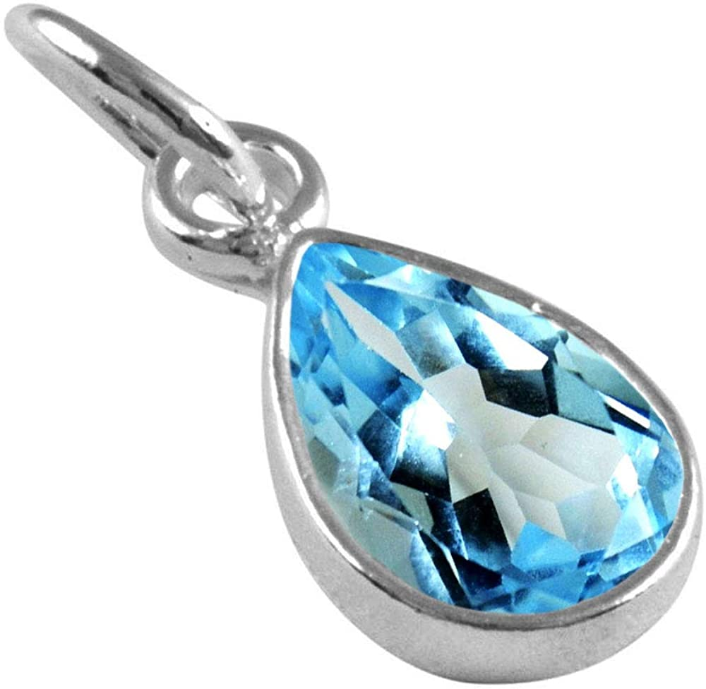 55Carat Choose Your Gemstone Pendants Pear Shape 925 Sterling Silver 18K Gold Plated Locket For Men Women