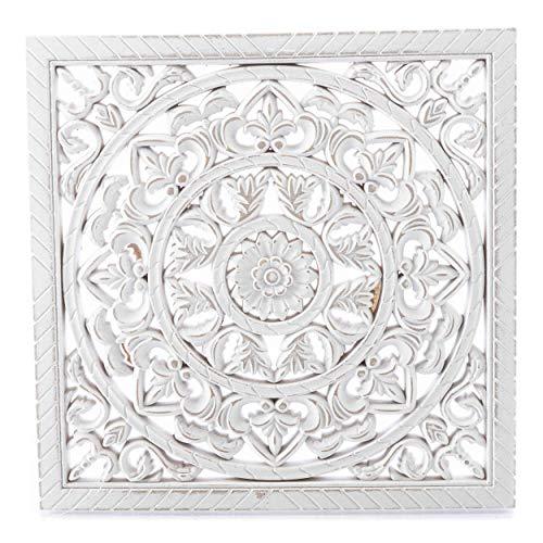 knuellermarkt.de Wand-Deko Ornament mittel Antik-weiß Holz Orient Vintage-Deko Accesoires