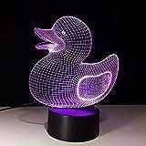 Lámpara de mesa LED con luz de noche LED 3D Lámpara de mesa para niños creativa Lámpara de noche con forma de pato animal lindo Lámpara de decoración