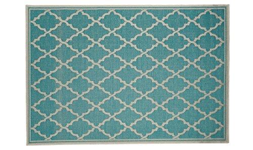 WEBTAPPETI Tapis Moderne Outdoor Super Résistant Tissage Turquoise 135_x_190_cm Turquoise
