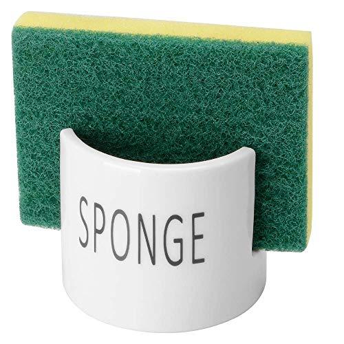 Off White Ceramic Porcelain Sponge Holder for Kitchen Sink Farmhouse Home Decor Sponge Storage Rack Organizer - Exclude Sponge