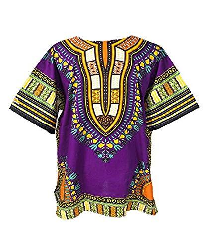 Lofbaz Unisex Dashiki Stampa Tradizionale Africana Hippy Boho L Purple