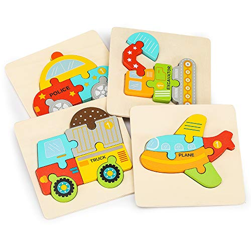 PHOOHI Wooden Vehicle Puzzles for Kids Ages 1 2 3 4 5 Years Old Toddler Gift 4 PCS Vehicle Patterns Early Learning Educational Kids Toys Puzzle Jigsaw Montessori Toys for Toddlers Color Box Baby Game