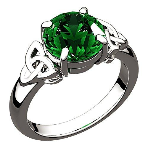 GWG Jewellery Anillos Mujer Regalo Anillo Celta Plata de Ley Circonita Grande de Color Esmeralda Verde Adornado con Nudos de Trinidad - 9 para Mujeres