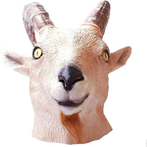 WWWL Mscara de Halloween con cabeza de animal de cabra, mscara de cabeza de animal, novedad para Halloween, disfraz de fiesta de ltex, mscara de animales de cabeza completa