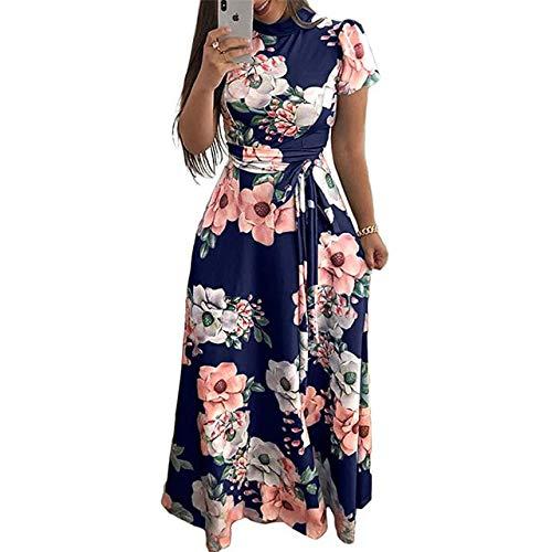 NVDKHXG Zomerjurk Dames Boho Bloemenprint Maxi-jurk Korte mouw Coltrui Bandage Elegante lange jurken Vestidos de fiesta