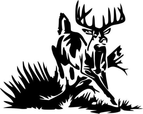 Deer Buck Running Hunting Sportsman Graphic Car Truck Window Decor Decal Sticker - Die cut vinyl decal for windows, cars, trucks, tool boxes, laptops, MacBook - virtually any hard, smooth surface