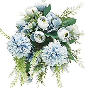 Artificial Flowers 2 Pack Fake Flowers Silk Peony Hydrangea Chrysanthemum Ball Mixed Bouquet Artificial Plant Décor Flowers Arrangements Wedding Decoration Party Office Garden Table Centerpieces-Blue
