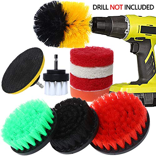 【Upgrade】Drill Brush Attachment Set, QUIENKITCH 10PCS/Set Drill Brush & Scrub Pads, Drill Brush Power Scrubber Cleaning Kit, for Grout, Tiles, Sinks, Bathtub, Bathroom, Shower & Kitchen Surface