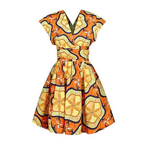 QWY Damen Kleid Irregular Drucke Bügel-Entwurfs-Mode-Art-beiläufige Tages-Wear elegant und komfortabel,B-S