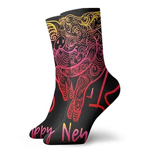Almost-Okay-Shop Chaussettes bonne année texte de voeux mignon cochon hommes athlétique équipage chaussettes pour hommes coussin décontracté sport entraînement chaussette