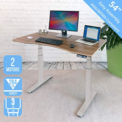 Seville Classics AIRLIFT Pro S3 54' Solid-Top Commercial-Grade Electric Adjustable Standing Desk (51.4' Max Height) Table, Gray/Walnut