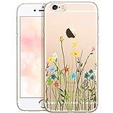 OOH!COLOR Carcasa para Móvil Compatible con iPhone 6S Plus, Funda iPhone 6 Plus Flores Transparente Silicona Suave Bumper Teléfono Caso para iPhone 6 Plus con Dibujo Prado de Flores