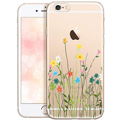 Collection 2020 Carcasa para Móvil compatible con iPhone 6S Plus, Funda iPhone 6 Plus Flores Transparente Silicona Suave Bumper Teléfono Caso para iPhone 6 Plus con Dibujo prado de flores (DESECHABLE)