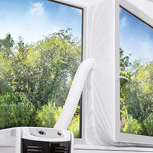 TOPOWN 300cm Kit Ventana Aire Acondicionado portatil Aislamiento Ventana Cubierta Ventana para Aparatos De Aire Acondicionado Portátiles y Secadoras Fácil Instalación Evita La Entrada de Mosquitos