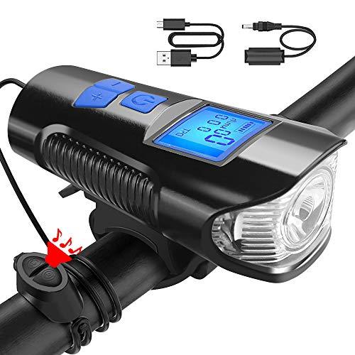U UZOPI Luci Bicicletta LED Ricaricabili USB con Clacson, Luci Anteriori Potenti per Biciclette LED, IP6 Impermeabile con 4 modalità, Bici a LED per Bici da Strada e Montagna