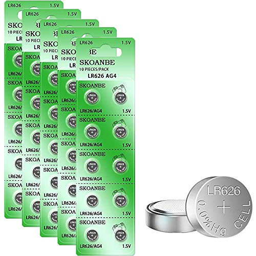 SKOANBE 50PCS SR626SW AG4 LR626 377 1.5V Button Coin Cell Watch Battery