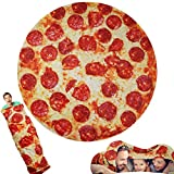 Lhedon Pizza Blanket 71 Inch,Tortilla Throw Blanket for Adult/Kids/Baby,Round Funny Burritos Blanket,Realistic Fleece Warm Soft Taco Blanket for Bed/Office/Travel/Gift