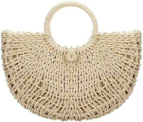 Handwoven Rattan Top handle Bag for Women Bohemian Round Straw Tote Bag Beach Large Carrying product image