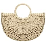 Bolsa de playa de verano, hecha a mano para mujer, bolso de paja de ratán, elegante bolsa de playa para viajes en la playa y uso diario.