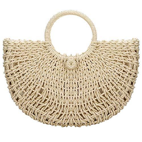 Bolsas de paja para el verano, bolso de mano de paja con asa superior de viaje, bolsas de paja y bolsos
