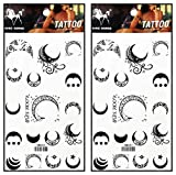 Tattoos 2 Sheets The Sun Star Crescent Moon Temporary Tattoos Body Art Stickers Fake Waterproof Removable Stickers Party for Teens Men Women