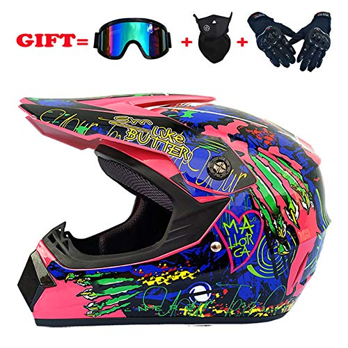 Youth Kids Offroad Helmet Motocross Gear Combo Mask Goggles Gloves, ATV Motorcycle Helmet SUV Dirt Bike Mountain Bike Helmet Gifts for Boys and Girls,Pink,L