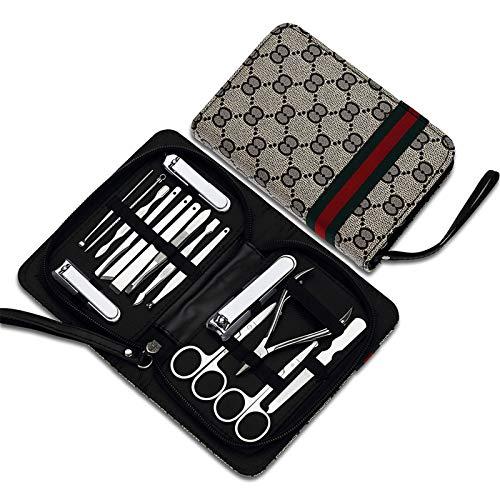 Set Manicura Clippers de uñas, herramientas de manicura Bolso de cremallera de manicura a prueba de salpicaduras a prueba de salpicaduras de acero inoxidable, cajas de uñas Caja de manicura para Viaje