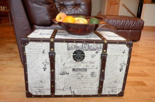 Decorative New York Medium Wood Steamer Trunk Wooden Treasure Hope Chest product image