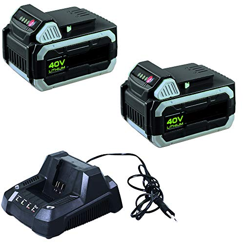 IKRA 17180929-AZ5 Kombipack 2 Batterien & Schnelllader 40 V 2,5Ah Li-Ion Akkus Ersatzakkus & Schnell-Ladegerät ONE FOR ALL, schwarz