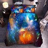 Gabapipa Juego de Cama para niños, 3D Galaxy, Individual Size, Galaxia Espacial Funda Nórdica y Funda de Almohada, para Niños Chicos Chica 135 x 200 cm