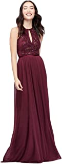 David's Bridal High-Neck Sequin and Mesh Gown with Keyhole Style DS270021