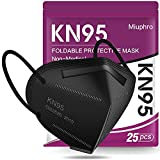 KN95 Disposable Face Mask 25 Pack - Miuphro 5-Ply Breathable Safety Masks Against PM2.5, Dispoasable Respirator Protection Mask for Men and Women Black