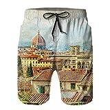 Vintage Italiano Florencia Retro Italia Ciudad diseño Antiguo Europeo bañadores para Hombre Surf Playa Pantalones Cortos Traje de baño, Talla XXL