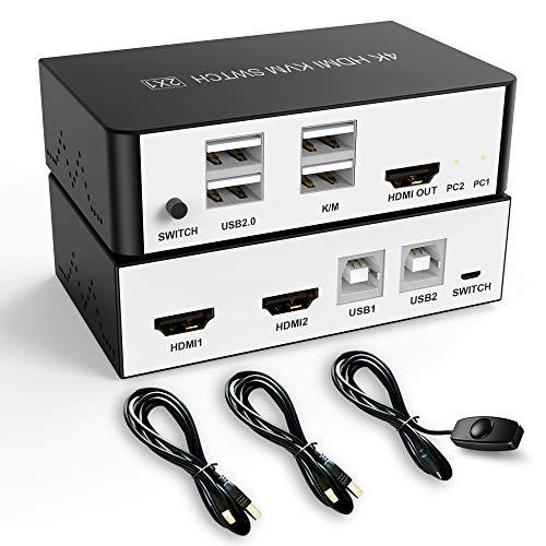 HDMI USB KVM-Switch 2 Anschlüsse teilen Sich 2 Computer mit einem Monitor, unterstützen UHD Extended Display 4K@30Hz, mit Hotkey-Switch, 3 Switch-Modi, unterstützen drahtlose Tastatur und Maus