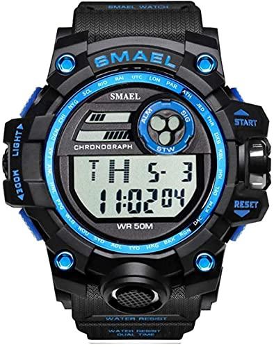 Reloj Deportivo para Hombre, Resistente al Agua, al Aire Libre, Pantalla Digital Simple, Reloj electrónico multifunción, Pantalla Luminosa para la Semana, Alarma para el Mes-Azul