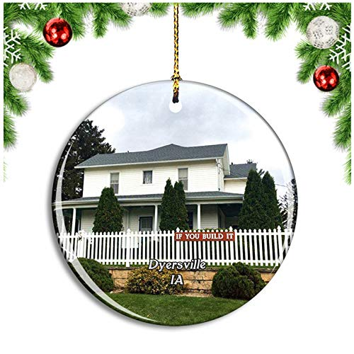 Weekino Dyersville Dreams Movie Site Iowa USA Christmas Ornament Xmas Tree Decoration Hanging Pendant Travel Souvenir Collection Double Sided Porcelain 2.85 Inch
